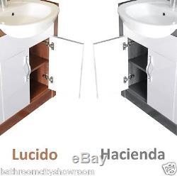 1700mm L Shape Bathroom 1200mm Vanity Walnut & White Fitted Furniture Unit Suite