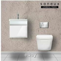 400 Wall Hung Vanity Basin Unit Gloss White Wall Hung Toilet Pan & Cistern Frame