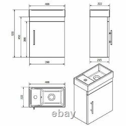 400mm Cloakroom Close Coupled Toilet Wall Hung Vanity Unit Basin Sink