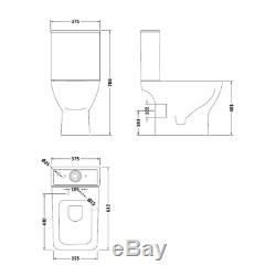 400mm Cloakroom Rimless Close Coupled Toilet Wall Hung Vanity Unit Basin Sink