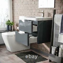 500mm Dark Grey Wall Hung Vanity Basin Unit & Square Rimless Toilet Emere