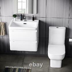 600mm Basin White Wall Hung Vanity Unit and Toilet + Soft Close Seat Charta