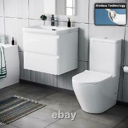 600mm Bathroom Basin White Wall Hung Vanity Unit and Toilet Suite Charta
