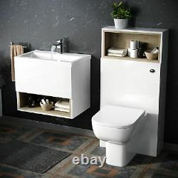 610 mm White Wall Hung Vanity Cabinet and WC BTW Toilet Unit with Cistern