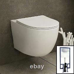 Abacus Wall Hung Rimless Toilet & Seat, Round Button Concealed WC Cistern Frame