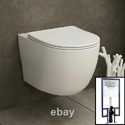 Abacus Wall Hung Rimless Toilet & Seat, Square Button Concealed WC Cistern Frame
