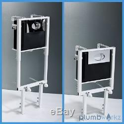 Adjustable In Wall Hung Concealed Toilet Cistern Frame Chrome Dual Flush Button