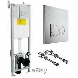 Adjustable Wall Hung WC Toilet Frame Dual Flush Concealed Cistern Chrome 1.1 m