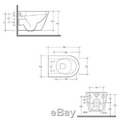 All RAK Resort Rimless Wall Hung Pan WC Toilet Cistern Frame Dual Flush Plate