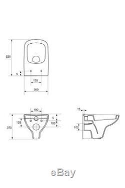 Aquila Modern Bathroom Toilet WC Wall Mounted & Soft Close Seat 10 Yr Guarantee