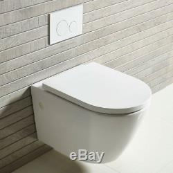BTW Wall Hung Round Modern Toilet Pan White Ceramic Soft Close seat Bathroom WC