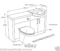 Bathroom 1700mm Shower Bath Suite with Grey Silver Vanity Unit Toilet and Sink
