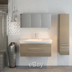 Bathroom 950mm Pemberton gold wallhung vanity basin mirror tallboy toilet suite