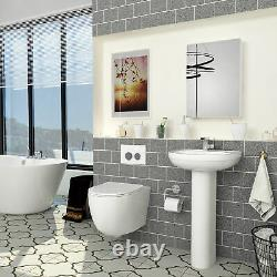 Bathroom Abacus Modern Wall Hung Rimless Toilet Round Pan & Slim Soft Close Seat