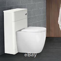 Bathroom Basin Vanity Unit Storage Tall Furniture Toilet WC Cabinet Gloss White