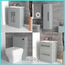 Bathroom Furniture Edon Grey Vanity Storage Suite Java Pan WC Cistern