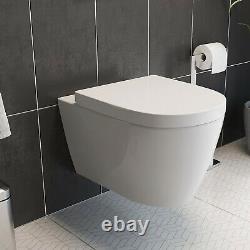 Bathroom Modern White Wall Hung WC Toilet Frame Dual Flush Button Chrome Ceramic
