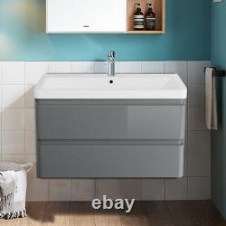 Bathroom Vanity Unit Basin Sink Wall Hung Floor Standing Toilet Cabinet Grey
