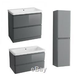 Bathroom Vanity Unit Basin Storage Tall Cupboard 2 Drawer Cabinet Toilet Grey