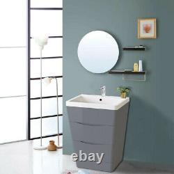 Bathroom Vanity Unit Cabinet Furniture Toilet Basin Sink Wall Hung Storage Grey