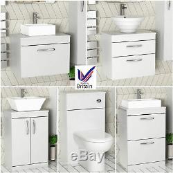 Bathroom Vanity Unit Countertop Basin Sink Worktop Gloss White Cabinet WC Toilet