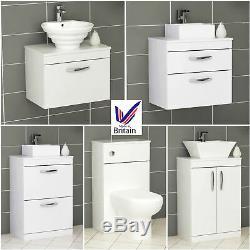 Bathroom Vanity Unit Worktop Countertop Basin Sink Cabinet WC Toilet Gloss White
