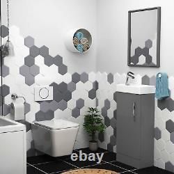 Bathrooms Elena Modern Wall Hung Rimless Toilet WC Round Pan & Soft Close Seat