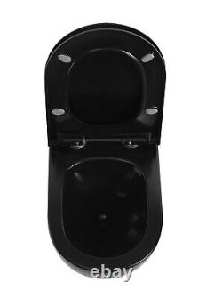 Black Modern Round Rimless Wall Hung Wc Toilet Pan With Slim Soft Close Seat Set