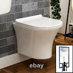 Breeze Wall Hung Rimless Toilet & Seat, Round Button Concealed WC Cistern Frame
