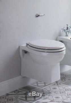 Burlington Wall Hung Toilet Pan in White, Traditional Design, P10