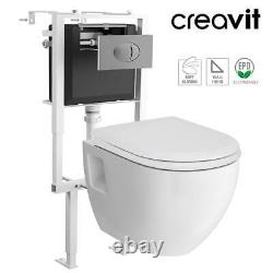 CREAVIT Concealed Wall Hung Toilet Pan Soft Close Seat Flush Plate Cistern Frame