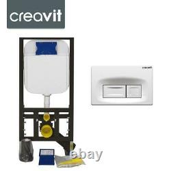 CREAVIT Concealed Wall Hung Toilet WC Adjustable Cistern Frame & Flush Plate