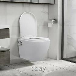 Ceramic Rimless Toilet with Bidet Function Soft Close Seat Wall Hung White