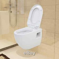 Ceramic Toilet WC Wall hung mounted Bathroom Cloakroom White Soft Close Seat New