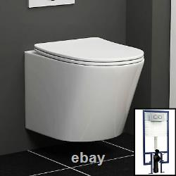 Cesar Wall Hung Rimless Toilet & Seat, Square Button Concealed WC Cistern Frame