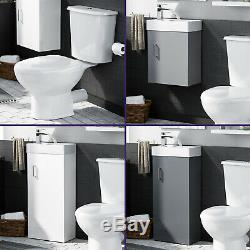 Cloakroom 400 Basin Sink Vanity Unit and WC Toilet Combination Cabinet Suite