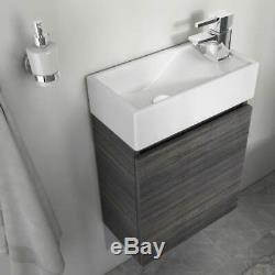 Cloakroom 410mm Hacienda grey wall hung vanity sink unit with toilet tap suite