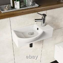 Cloakroom Bathroom Suite with Close Coupled Toilet Wall Hung Wash Basin Sink