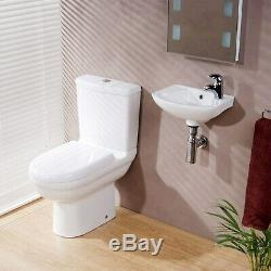 Close Coupled Toilet & Wall Hung Basin Cloakroom Bathroom 2 Piece Suite Round