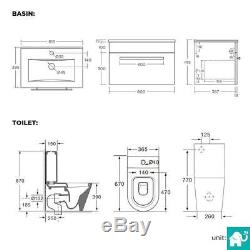 Close Coupled Toilet & Wall Hung Sink Basin Set Gloss White Modern Bathroom