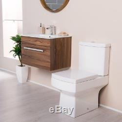 Close Coupled Toilet & Walnut Wall Hung Vanity Unit Cloakroom Suite