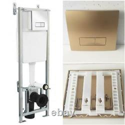 Concealed Cistern WC Universal Frame Wall Hung Toilet Gold Flush Push Button