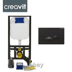 Concealed Wall Hung Toilet Cistern & Frame Incl Black Dual Flush Button