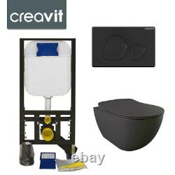 Concealed Wall Hung Toilet Pan ANTHRACITE GREY Incl Frame & Button SPA Black