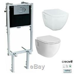 Concealed Wall Hung Toilet WC Adjustable Frame & Cistern, Pan & Flush Plate