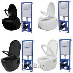 Concealed Wall Hung Toilet WC Adjustable Frame & Cistern with Toilet White/Black