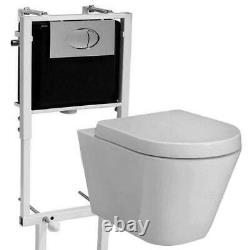 Concealed cistern frame & Jura Wall Hung Toilet pan & Soft Close Seat Toilet Set