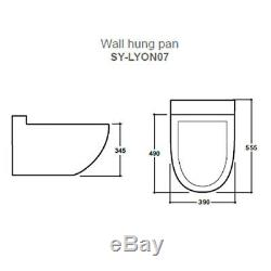 Contemporary Curved Wall Hung Toilet WC Unit Lyon Designer New Gloss White