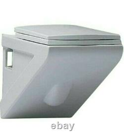 Contemporary Wall Hung Stylish Square Toilet with Soft Close Seat Synergy Geo 3
