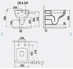 Creavit Bene Square Wall Hung Mounted Combined Bidet Toilet Pan wc soft seat